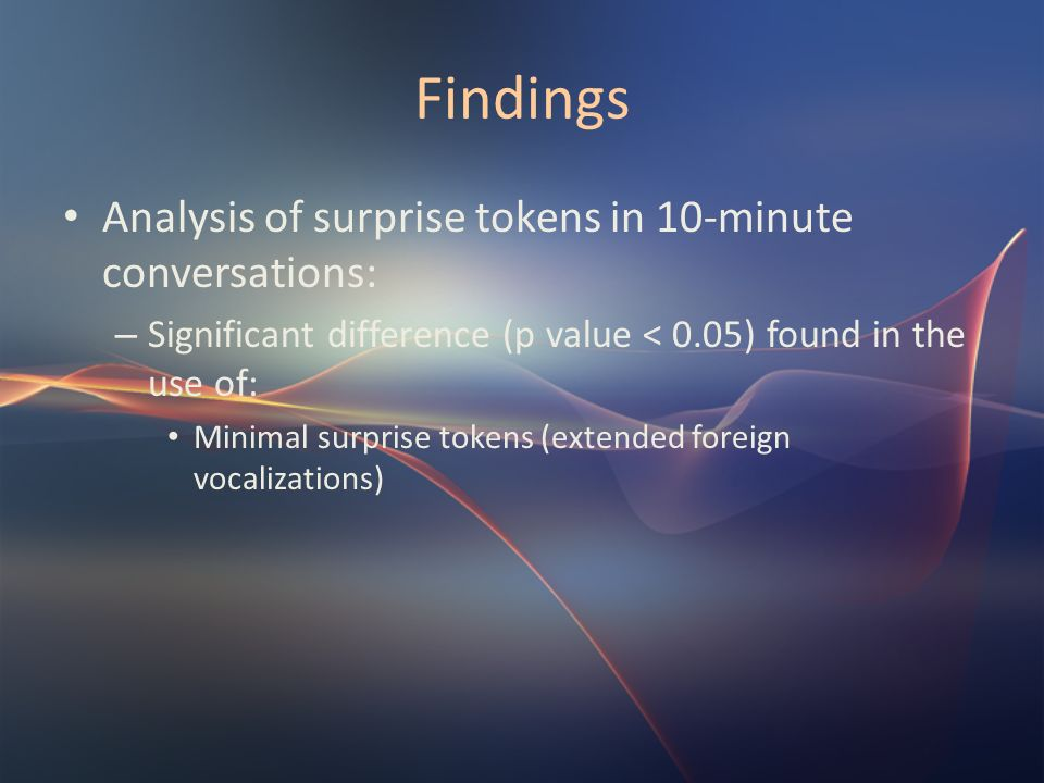 Findings Analysis of surprise tokens in 10-minute conversations: – Significant difference (p value < 0.05) found in the use of: Minimal surprise token