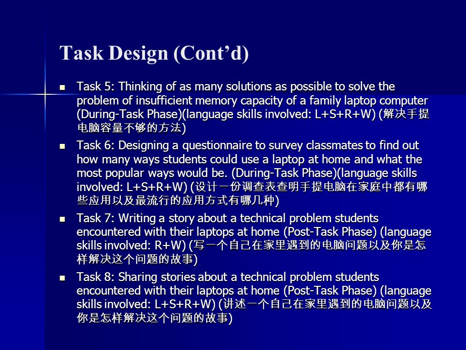 Task Design (Contd) Task 5: Thinking of as many solutions as possible to solve the problem of insufficient memory capacity of a family laptop computer