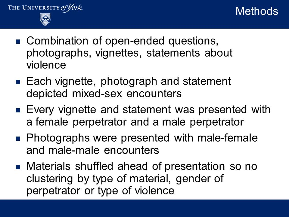 Methods Combination of open-ended questions, photographs, vignettes, statements about violence Each vignette, photograph and statement depicted mixed-