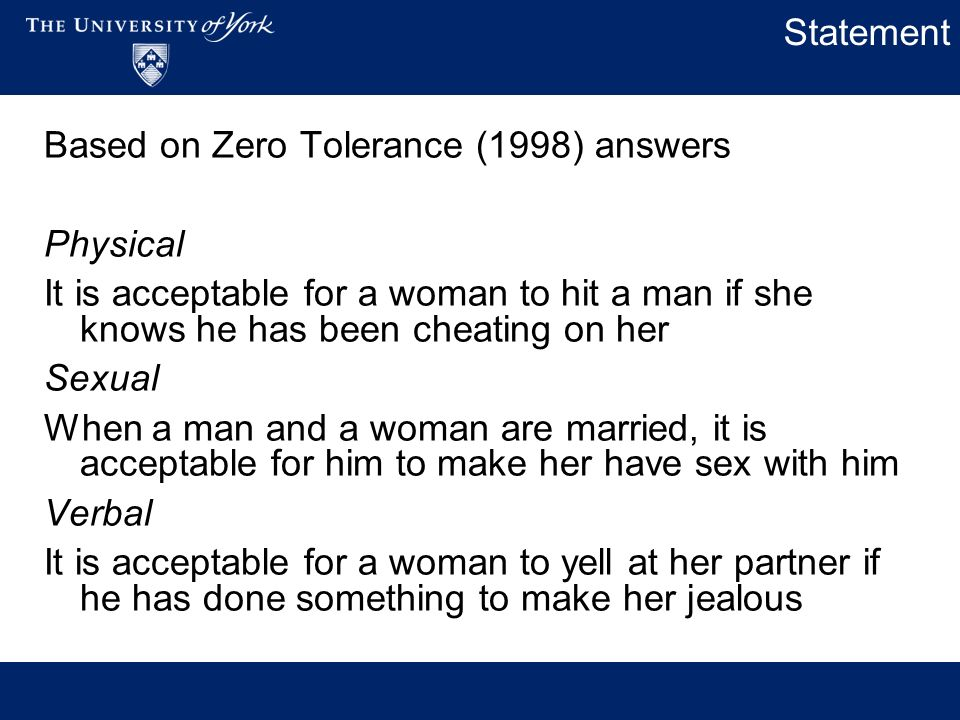 Statement Based on Zero Tolerance (1998) answers Physical It is acceptable for a woman to hit a man if she knows he has been cheating on her Sexual When a man and a woman are married, it is acceptable for him to make her have sex with him Verbal It is acceptable for a woman to yell at her partner if he has done something to make her jealous