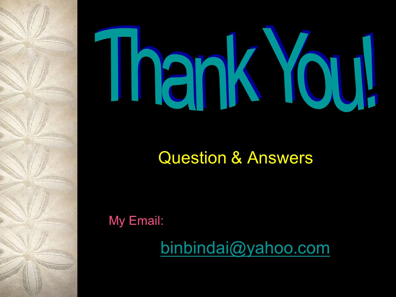 Question & Answers My Email: binbindai@yahoo.com