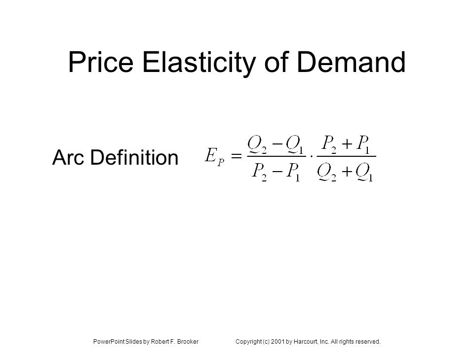 PowerPoint Slides by Robert F. BrookerCopyright (c) 2001 by Harcourt, Inc. All rights reserved. Price Elasticity of Demand Arc Definition
