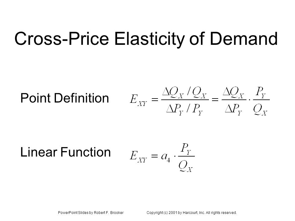 PowerPoint Slides by Robert F. BrookerCopyright (c) 2001 by Harcourt, Inc. All rights reserved. Cross-Price Elasticity of Demand Linear Function Point