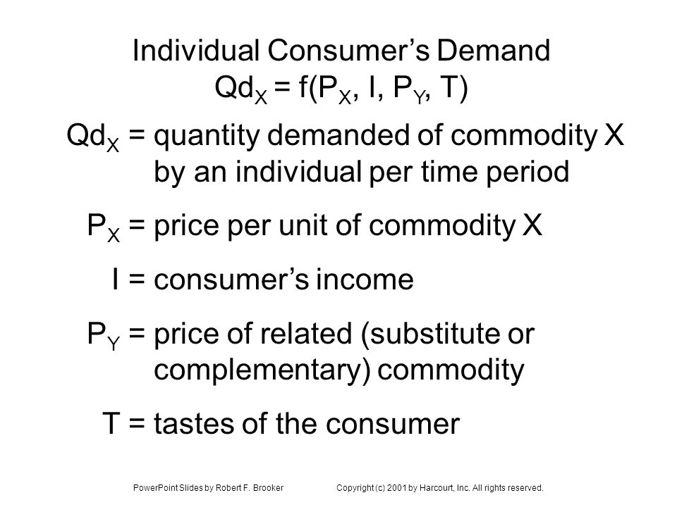 PowerPoint Slides by Robert F. BrookerCopyright (c) 2001 by Harcourt, Inc. All rights reserved. Individual Consumers Demand Qd X = f(P X, I, P Y, T) q