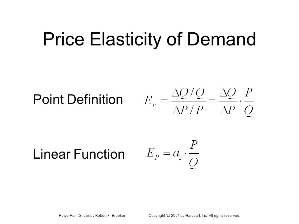 PowerPoint Slides by Robert F. BrookerCopyright (c) 2001 by Harcourt, Inc. All rights reserved. Price Elasticity of Demand Linear Function Point Defin