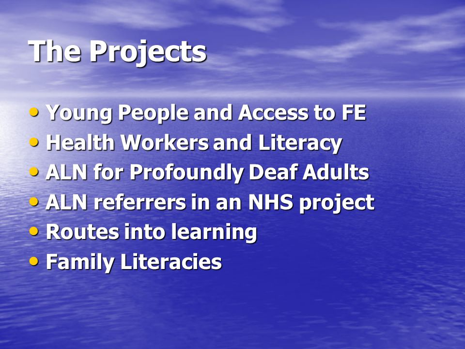 The Projects Young People and Access to FE Young People and Access to FE Health Workers and Literacy Health Workers and Literacy ALN for Profoundly De