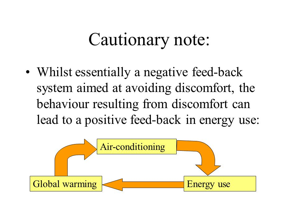 Cautionary note: Whilst essentially a negative feed-back system aimed at avoiding discomfort, the behaviour resulting from discomfort can lead to a po
