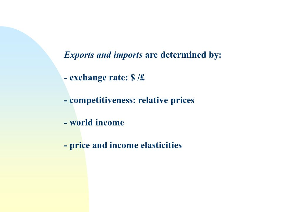 Exports and imports are determined by: - exchange rate: $ /£ - competitiveness: relative prices - world income - price and income elasticities