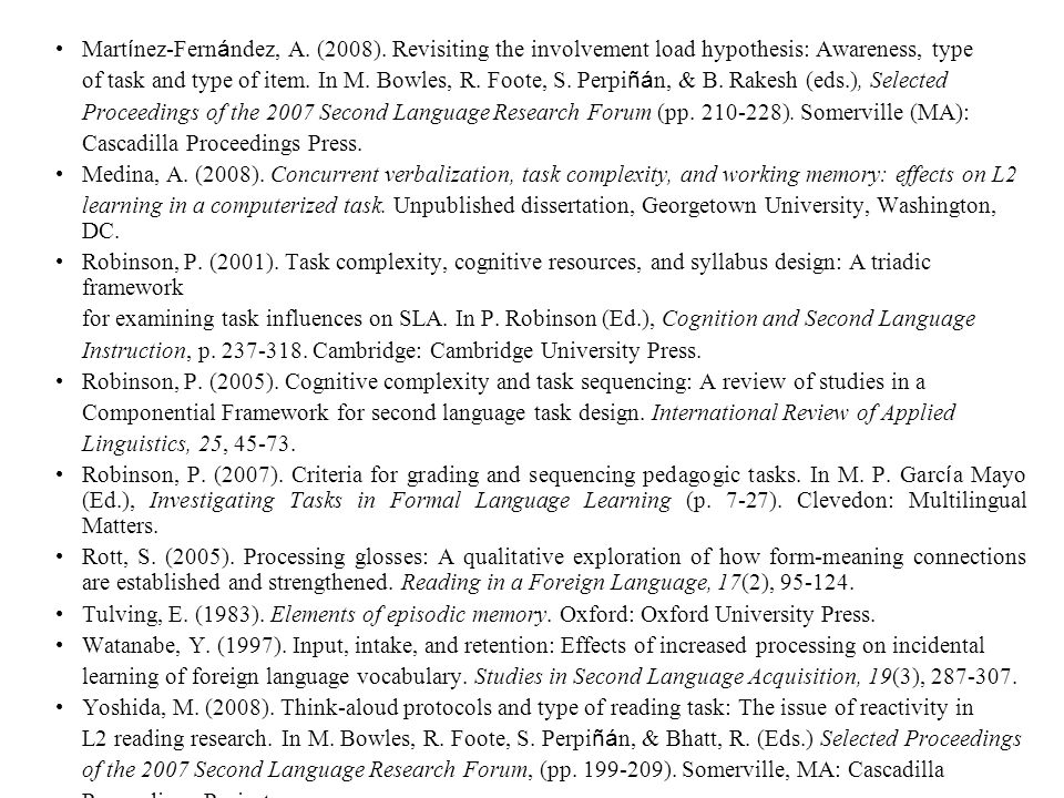 Mart í nez-Fern á ndez, A. (2008). Revisiting the involvement load hypothesis: Awareness, type of task and type of item. In M. Bowles, R. Foote, S. Pe
