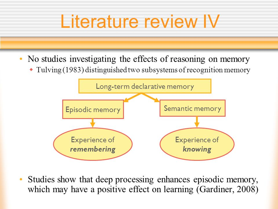 Research questions Does the extent of reasoning involved in a reading comprehension task plus fill-in task have a differential effect on recognition memory.