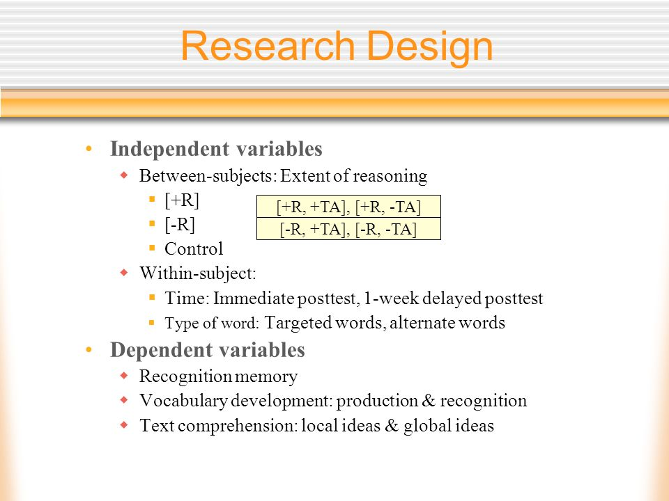 Research Design Independent variables Between-subjects: Extent of reasoning [+R] [-R] Control Within-subject: Time: Immediate posttest, 1-week delayed posttest Type of word: Targeted words, alternate words Dependent variables Recognition memory Vocabulary development: production & recognition Text comprehension: local ideas & global ideas [+R, +TA], [+R, -TA] [-R, +TA], [-R, -TA]