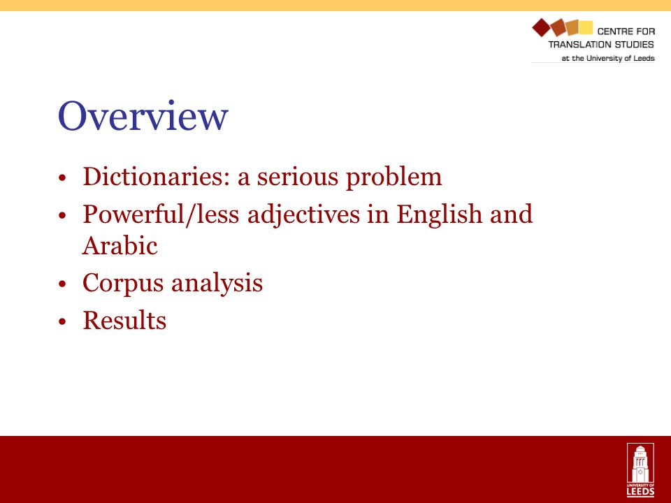 Overview Dictionaries: a serious problem Powerful/less adjectives in English and Arabic Corpus analysis Results