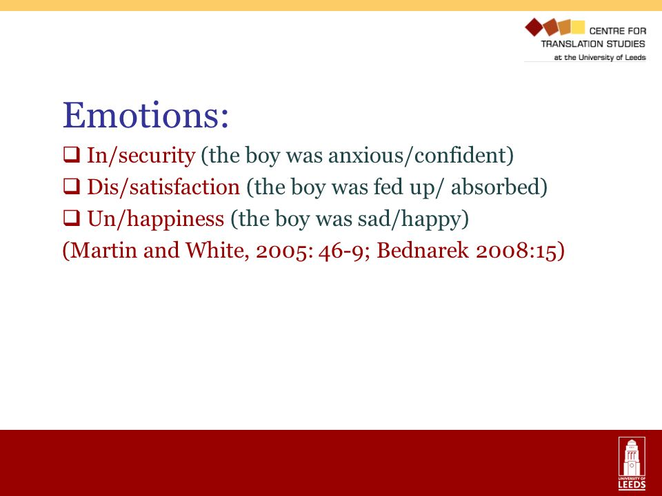 Emotions: In/security (the boy was anxious/confident) Dis/satisfaction (the boy was fed up/ absorbed) Un/happiness (the boy was sad/happy) (Martin and