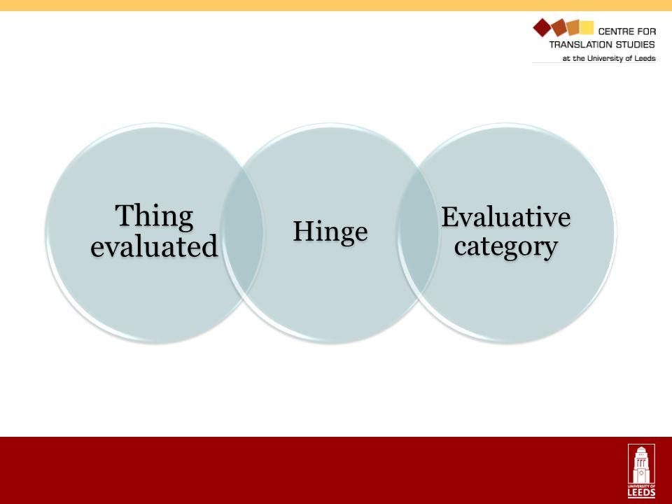 Thing evaluated Hinge Evaluative category