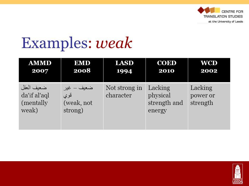 Examples: weak AMMD 2007 EMD 2008 LASD 1994 COED 2010 WCD 2002 ضعيف العقل da i f alaql (mentally weak) ضعيف – غير قوي (weak, not strong) Not strong in