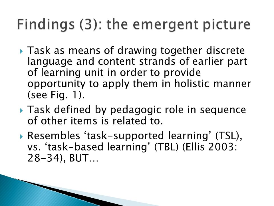 Task as means of drawing together discrete language and content strands of earlier part of learning unit in order to provide opportunity to apply them in holistic manner (see Fig.