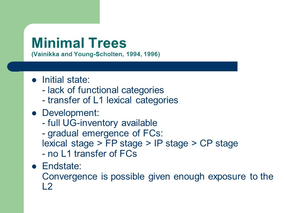 Minimal Trees (Vainikka and Young-Scholten, 1994, 1996) Initial state: - lack of functional categories - transfer of L1 lexical categories Development: - full UG-inventory available - gradual emergence of FCs: lexical stage > FP stage > IP stage > CP stage - no L1 transfer of FCs Endstate: Convergence is possible given enough exposure to the L2