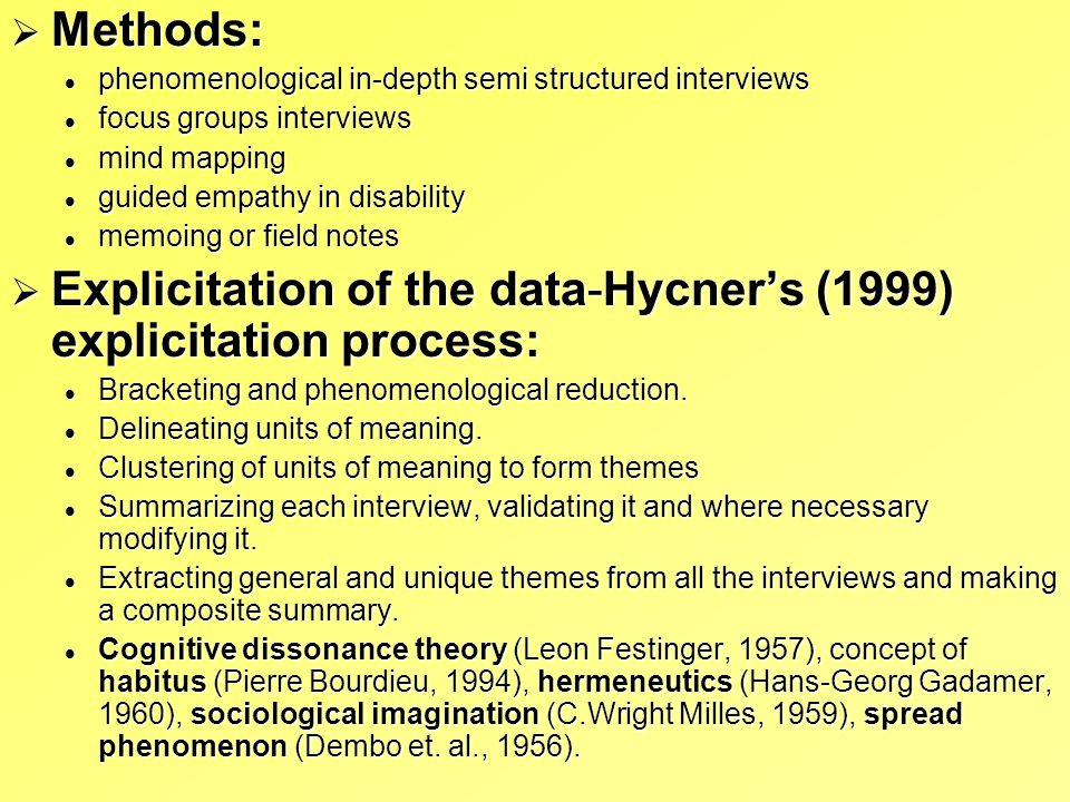 Methods: Methods: phenomenological in-depth semi structured interviews phenomenological in-depth semi structured interviews focus groups interviews fo