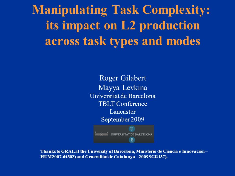 Results: tasks compared by dimension Sig. difference