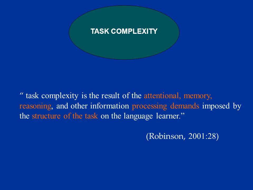 Pedagogic task 1 REAL- WORLD TASK Pedagogic task 2 Pedagogic task 3 Pedagogic task n What may be the role of task complexity in a task-based syllabus.