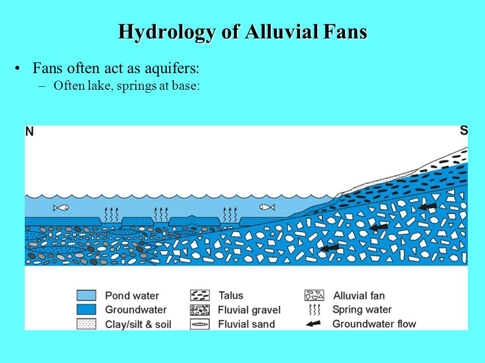 Hydrology of Alluvial Fans Fans often act as aquifers: –Often lake, springs at base: