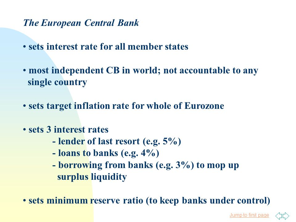 Jump to first page The European Central Bank sets interest rate for all member states most independent CB in world; not accountable to any single coun