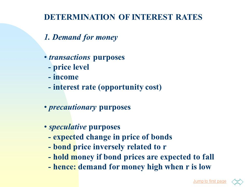 Jump to first page DETERMINATION OF INTEREST RATES 1. Demand for money transactions purposes - price level - income - interest rate (opportunity cost)
