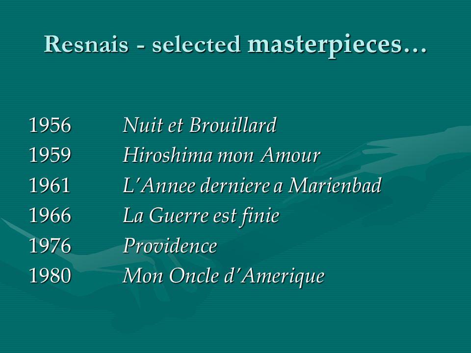 Resnais - selected masterpieces… 1956 Nuit et Brouillard 1959Hiroshima mon Amour 1961LAnnee derniere a Marienbad 1966La Guerre est finie 1976Providence 1980Mon Oncle dAmerique