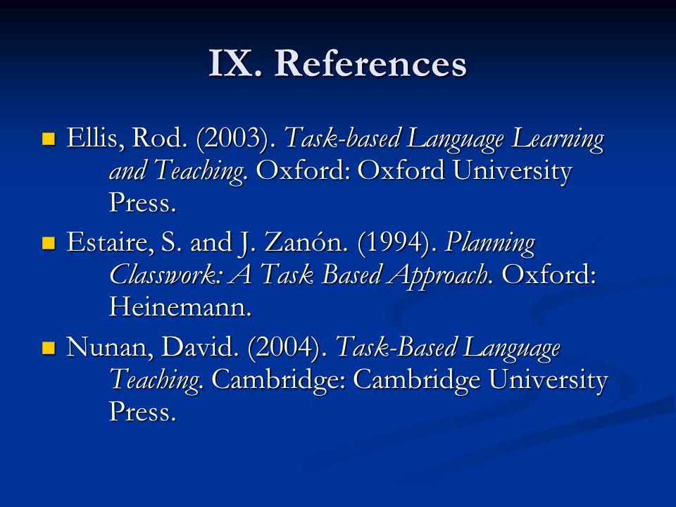 IX. References Ellis, Rod. (2003). Task-based Language Learning and Teaching.