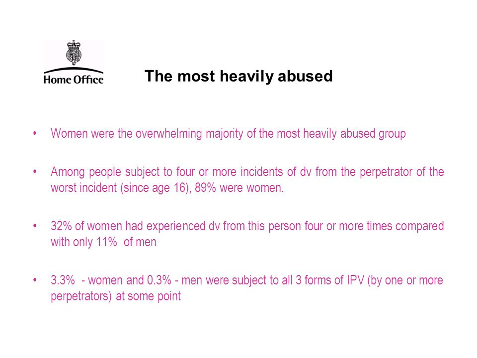 The most heavily abused Women were the overwhelming majority of the most heavily abused group Among people subject to four or more incidents of dv fro