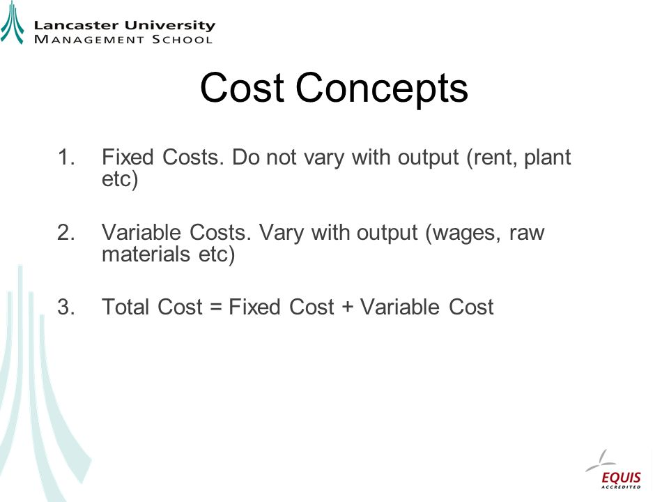 Cost Concepts 1.Fixed Costs. Do not vary with output (rent, plant etc) 2.Variable Costs. Vary with output (wages, raw materials etc) 3.Total Cost = Fi