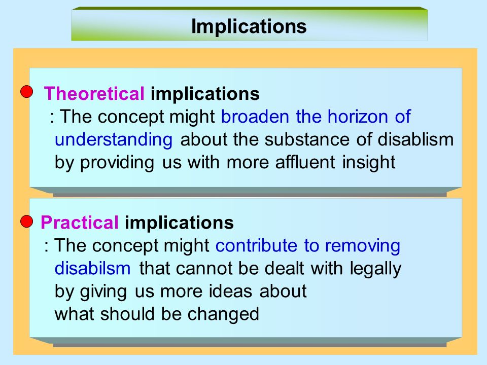 Theoretical implications : The concept might broaden the horizon of understanding about the substance of disablism by providing us with more affluent insight Theoretical implications : The concept might broaden the horizon of understanding about the substance of disablism by providing us with more affluent insight Implications Practical implications : The concept might contribute to removing disabilsm that cannot be dealt with legally by giving us more ideas about what should be changed Practical implications : The concept might contribute to removing disabilsm that cannot be dealt with legally by giving us more ideas about what should be changed