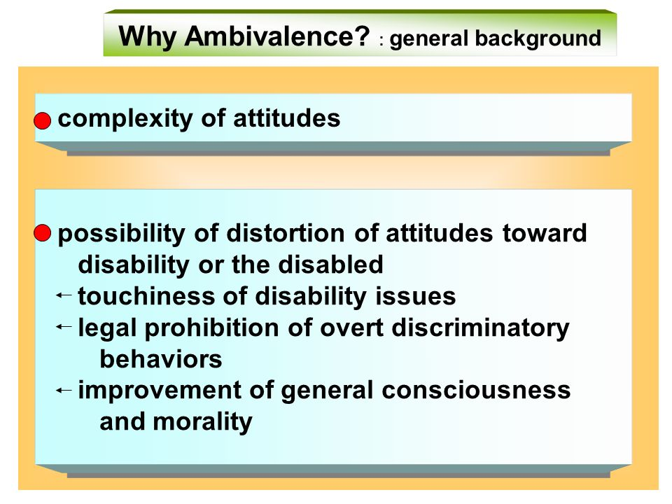 - complexity of attitudes - - possibility of distortion of attitudes toward disability or the disabled touchiness of disability issues legal prohibition of overt discriminatory behaviors improvement of general consciousness and morality - - possibility of distortion of attitudes toward disability or the disabled touchiness of disability issues legal prohibition of overt discriminatory behaviors improvement of general consciousness and morality Why Ambivalence.