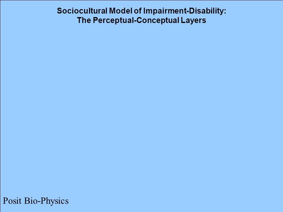 15 Sociocultural Model of Impairment-Disability: The Perceptual-Conceptual Layers Posit Bio-Physics