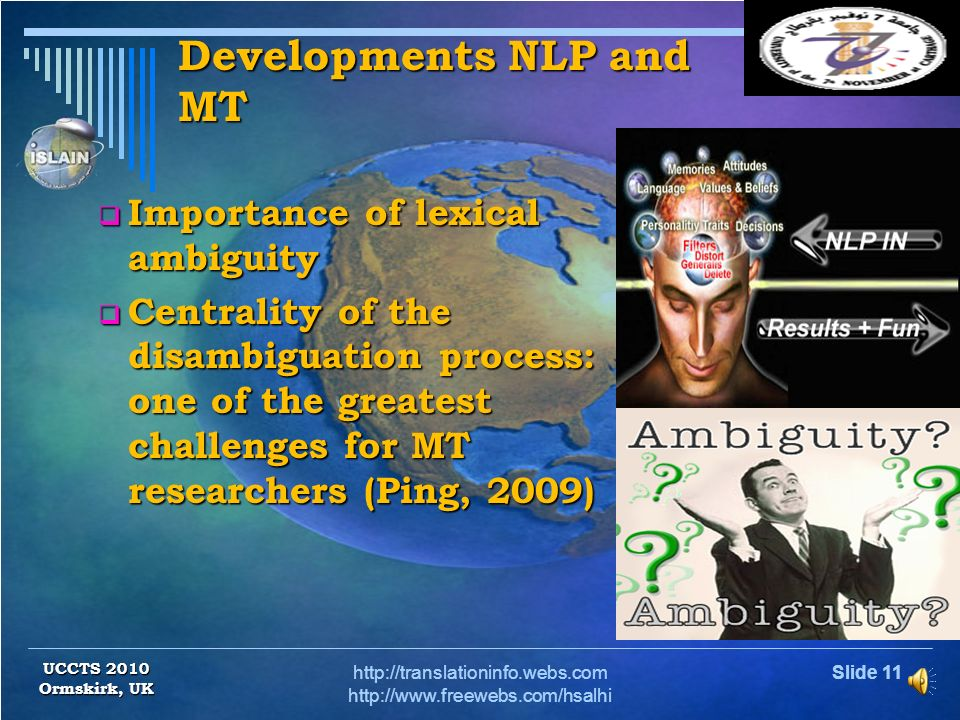 Slide 10http://translationinfo.webs.com http://www.freewebs.com/hsalhi Translation literature and lexical ambiguity UCCTS 2010 Ormskirk, UK Lexical am