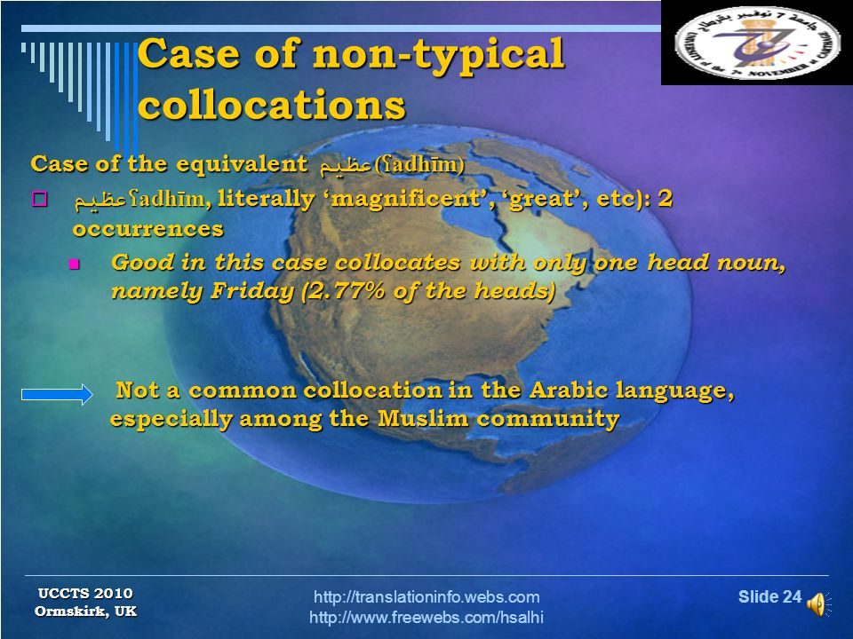 Slide 23http://translationinfo.webs.com http://www.freewebs.com/hsalhi Case of typical collocations Case of typical collocations Case of the equivalen