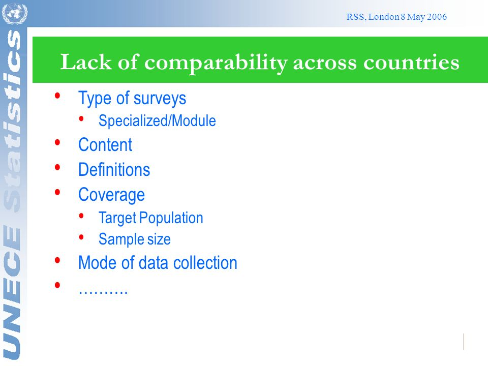 RSS, London 8 May 2006 Lack of comparability across countries Type of surveys Specialized/Module Content Definitions Coverage Target Population Sample size Mode of data collection ……….