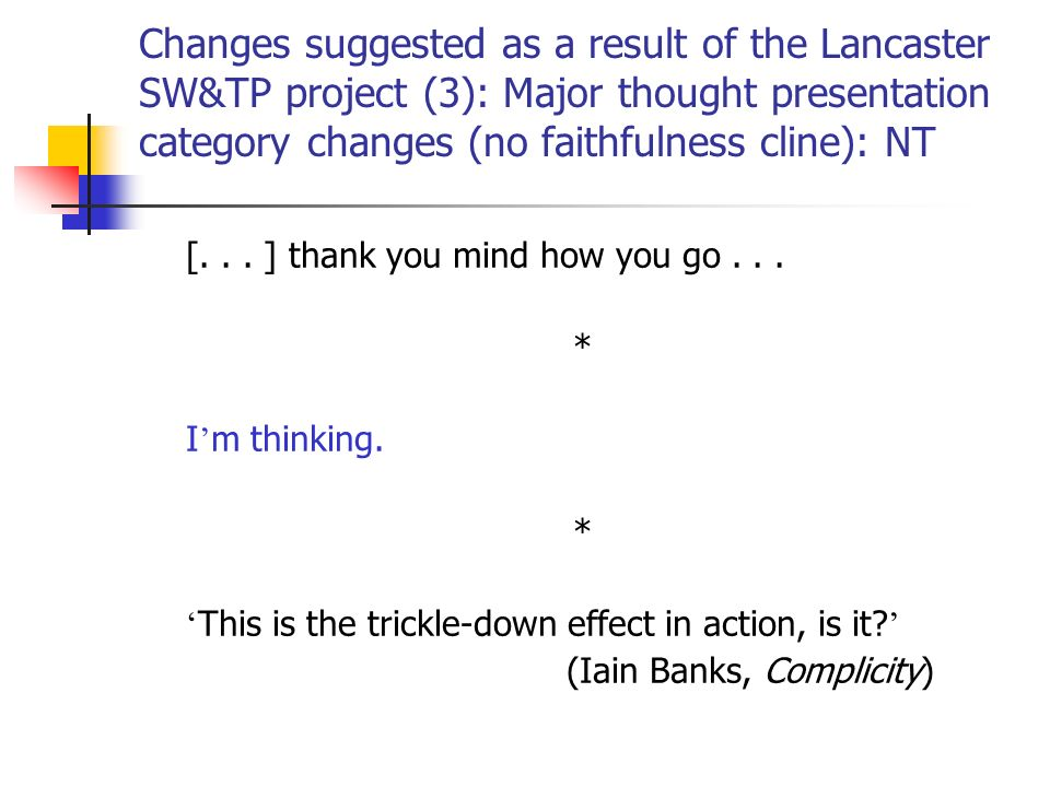 Changes suggested as a result of the Lancaster SW&TP project (3): Major thought presentation category changes (no faithfulness cline): NT [...
