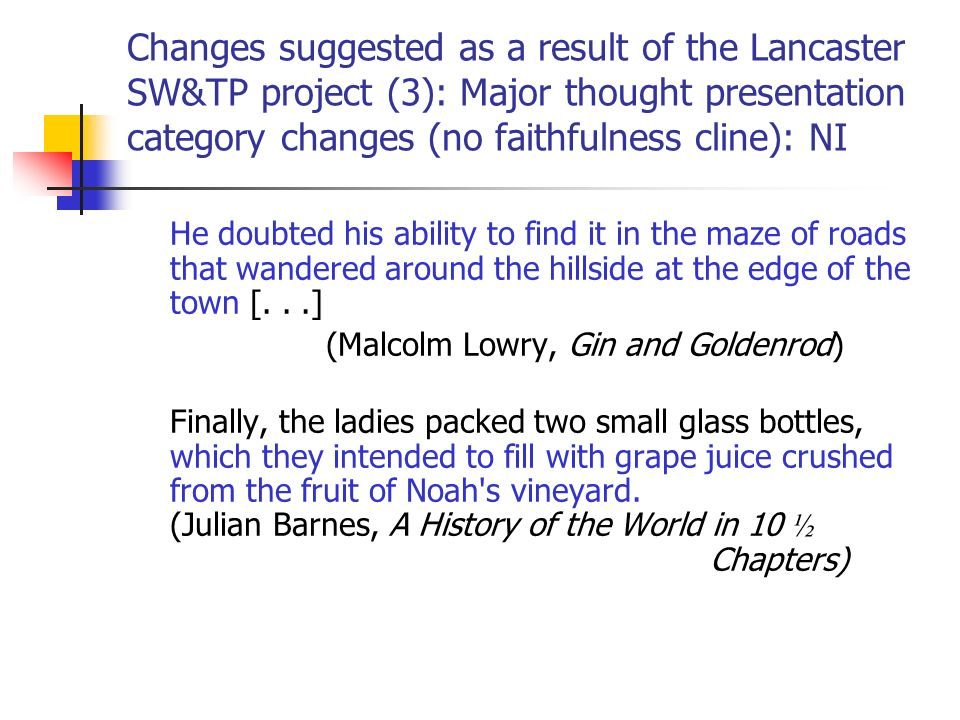 Changes suggested as a result of the Lancaster SW&TP project (3): Major thought presentation category changes (no faithfulness cline): NI He doubted his ability to find it in the maze of roads that wandered around the hillside at the edge of the town [...] (Malcolm Lowry, Gin and Goldenrod) Finally, the ladies packed two small glass bottles, which they intended to fill with grape juice crushed from the fruit of Noah s vineyard.