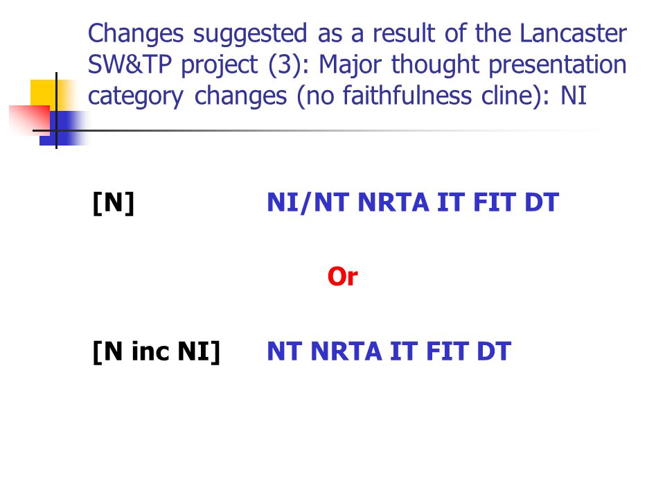 Changes suggested as a result of the Lancaster SW&TP project (3): Major thought presentation category changes (no faithfulness cline): NI [N]NI/NT NRTA IT FIT DT Or [N inc NI]NT NRTA IT FIT DT