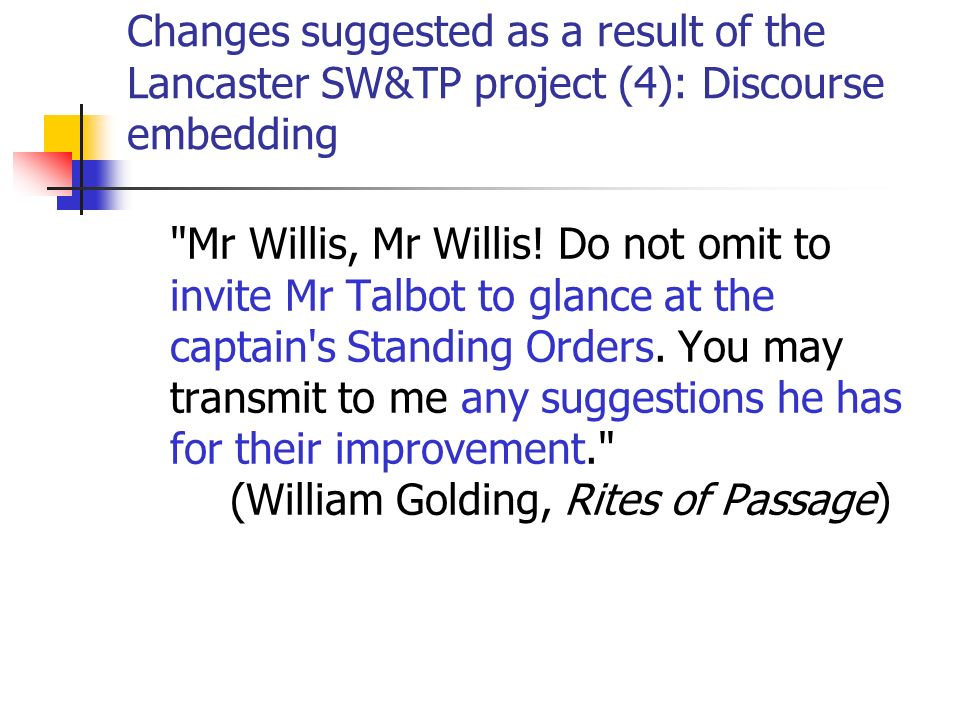 Changes suggested as a result of the Lancaster SW&TP project (4): Discourse embedding Mr Willis, Mr Willis.