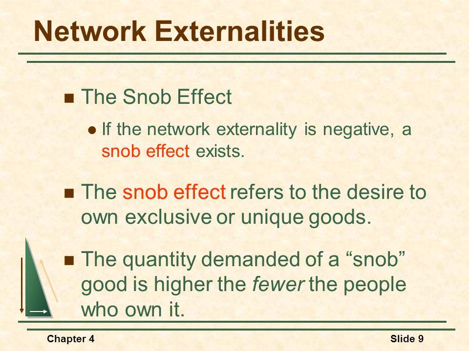 Chapter 4Slide 9 Network Externalities The Snob Effect If the network externality is negative, a snob effect exists. The snob effect refers to the des