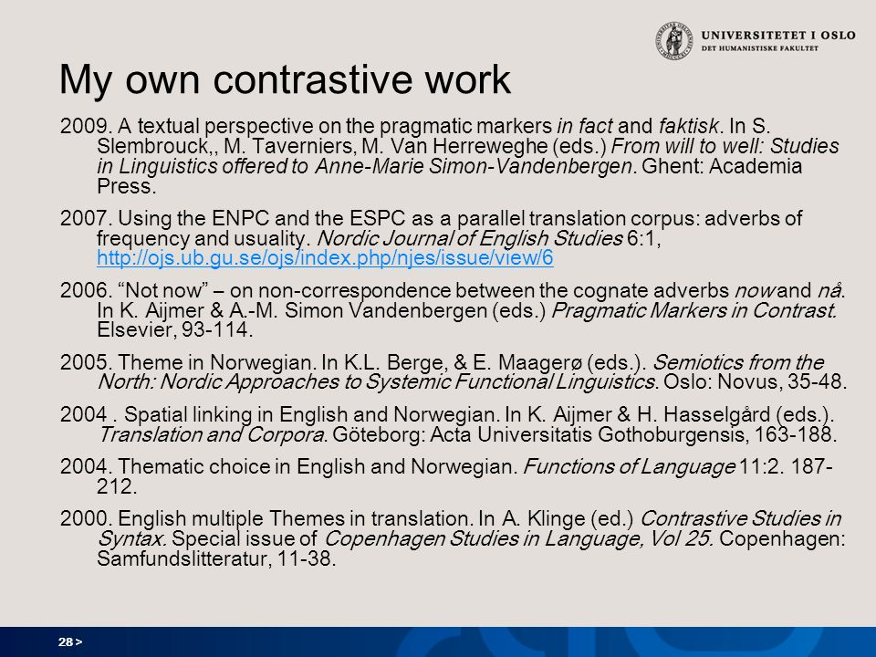 28 > My own contrastive work 2009. A textual perspective on the pragmatic markers in fact and faktisk. In S. Slembrouck,, M. Taverniers, M. Van Herrew