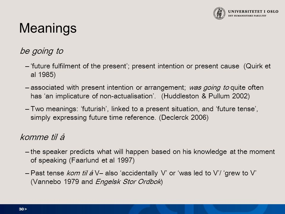 30 > Meanings be going to – future fulfilment of the present; present intention or present cause (Quirk et al 1985) – associated with present intention or arrangement; was going to quite often has an implicature of non-actualisation.