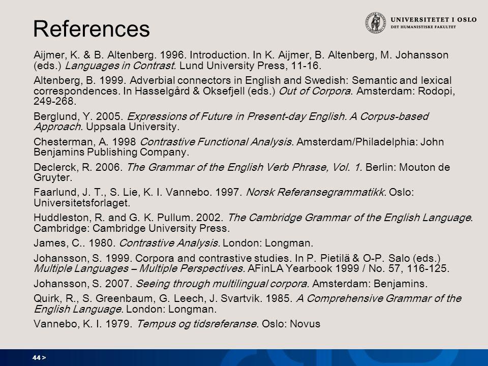 44 > References Aijmer, K. & B. Altenberg. 1996. Introduction. In K. Aijmer, B. Altenberg, M. Johansson (eds.) Languages in Contrast. Lund University