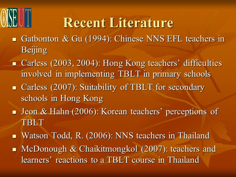 Recent Literature Gatbonton & Gu (1994): Chinese NNS EFL teachers in Beijing Gatbonton & Gu (1994): Chinese NNS EFL teachers in Beijing Carless (2003, 2004): Hong Kong teachers difficulties involved in implementing TBLT in primary schools Carless (2003, 2004): Hong Kong teachers difficulties involved in implementing TBLT in primary schools Carless (2007): Suitability of TBLT for secondary schools in Hong Kong Carless (2007): Suitability of TBLT for secondary schools in Hong Kong Jeon & Hahn (2006): Korean teachers perceptions of TBLT Jeon & Hahn (2006): Korean teachers perceptions of TBLT Watson Todd, R.