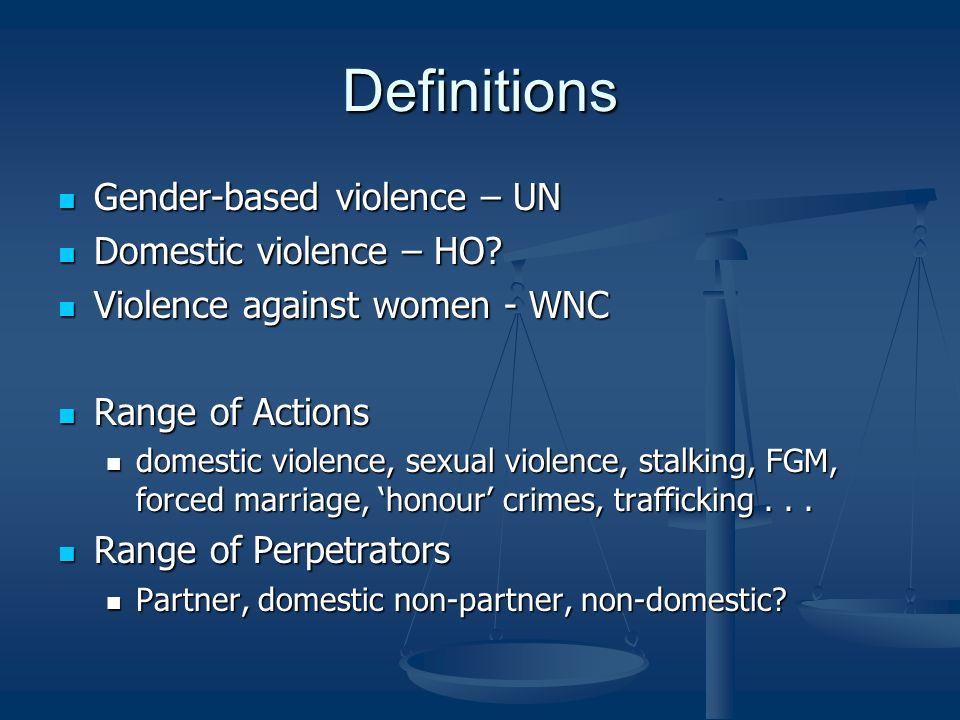 Definitions Gender-based violence – UN Gender-based violence – UN Domestic violence – HO.