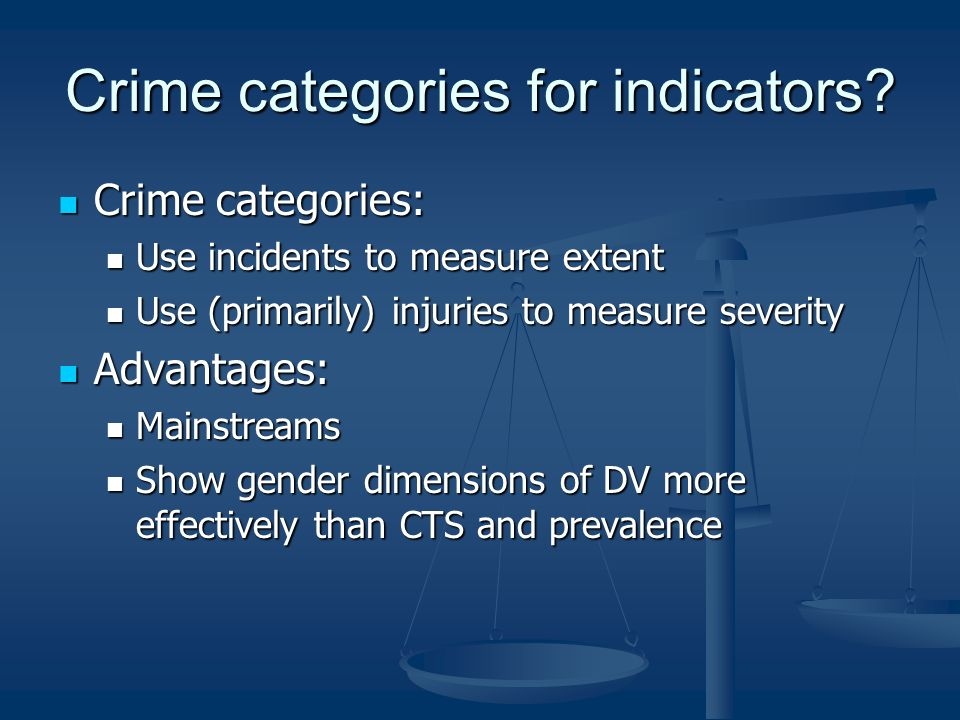 Crime categories for indicators.