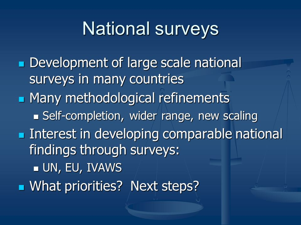 National surveys Development of large scale national surveys in many countries Development of large scale national surveys in many countries Many methodological refinements Many methodological refinements Self-completion, wider range, new scaling Self-completion, wider range, new scaling Interest in developing comparable national findings through surveys: Interest in developing comparable national findings through surveys: UN, EU, IVAWS UN, EU, IVAWS What priorities.