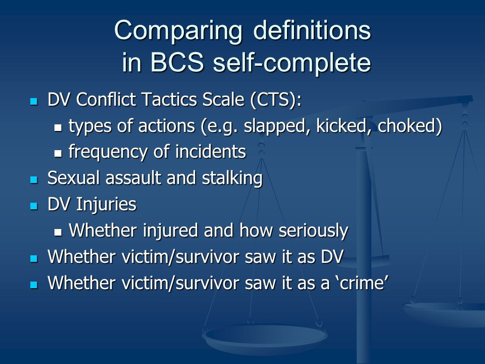 Comparing definitions in BCS self-complete DV Conflict Tactics Scale (CTS): DV Conflict Tactics Scale (CTS): types of actions (e.g.